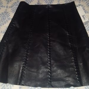 Faux leather stitch skirt